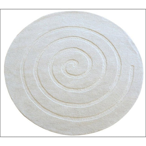 Handmade Round White Wool Rug - Swirl - Rugs Of Beauty
