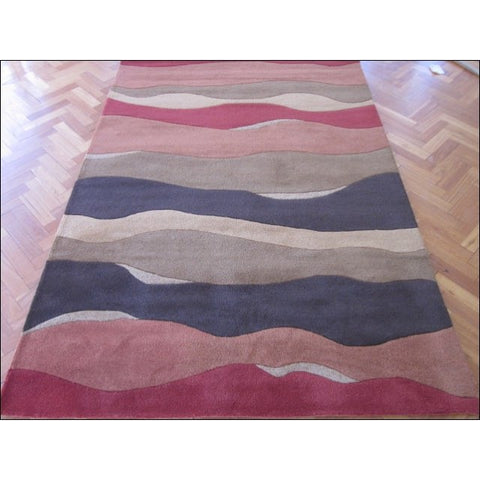 Waves Pattern Wool Hand tufted Texture Rug 1016 Rust Multi - Rugs Of Beauty