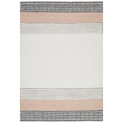 Vasteras 1259 Peach Grey Beige Scandinavian Wool Rug - Rugs Of Beauty - 1