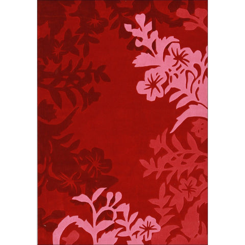 Silhouette Vine And Leaf Rug Red - Rugs Of Beauty
