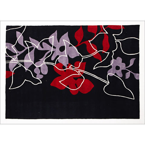 Leaf and Vine Rug Black Red Off White - Rugs Of Beauty