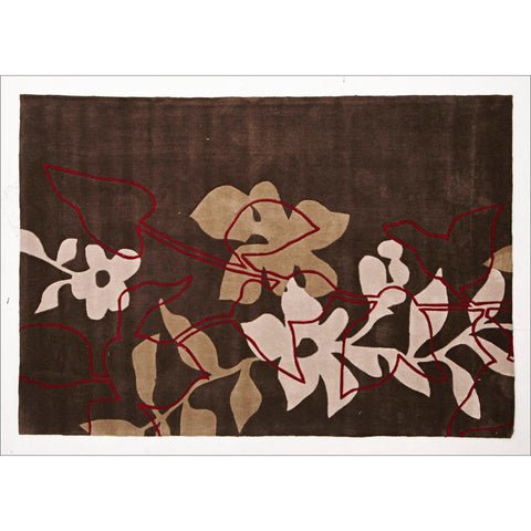 Leaf and Vine Rug Brown Cream Red - Rugs Of Beauty