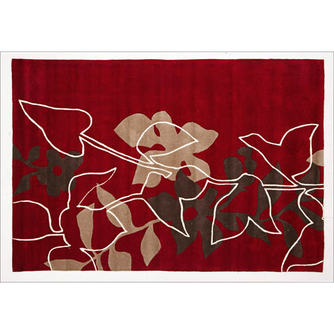 Leaf and Vine Rug Red Brown Beige - Rugs Of Beauty
