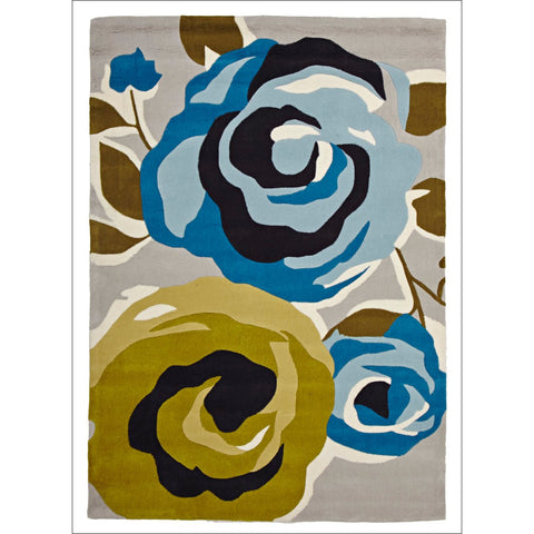 Stunning New Floral Print Rug Blue Green - Rugs Of Beauty