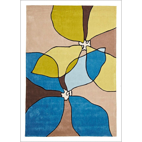 Organic Flower Design Rug Blue Green - Rugs Of Beauty