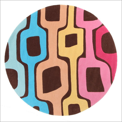 Funk Retro Multi Coloured Round Rug - Rugs Of Beauty