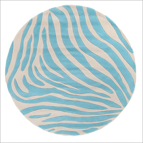 Zebra Deluxe Blue Round Rug - Rugs Of Beauty