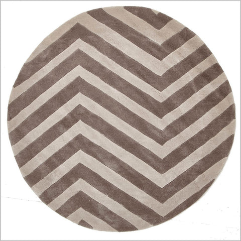 Chevron Beige Round Rug - Rugs Of Beauty - 1