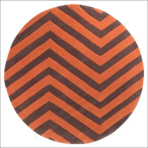 Chevron Jaffa Orange Round Rug - Rugs Of Beauty - 1