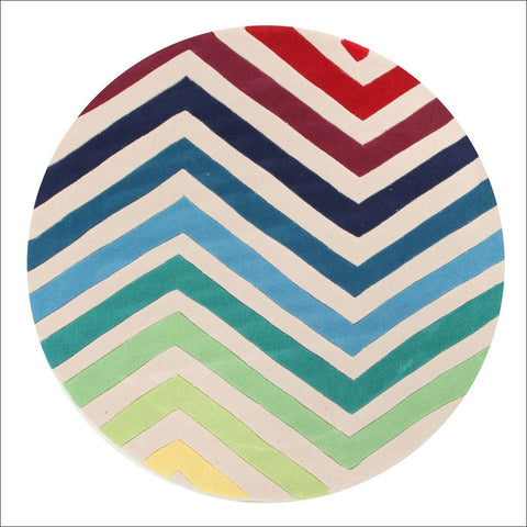 Chevron Multi Coloured Round Rug - Rugs Of Beauty - 1