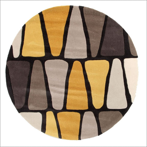 Rock Star Brown And Gold Round Rug - Rugs Of Beauty