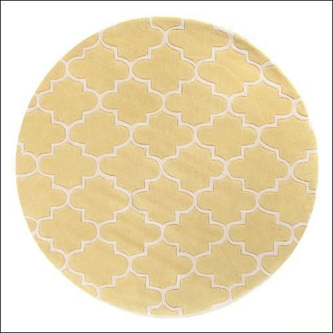 Lattice Chartreuse Yellow Round Rug - Rugs Of Beauty