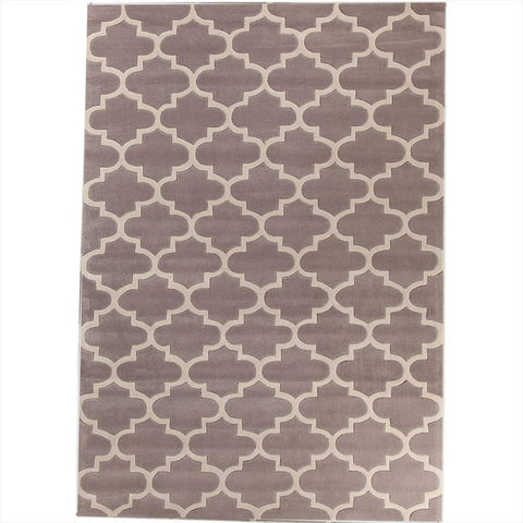 Muconda Lattice Taupe Grey Trellis Contemporary Patterned Rug - 1