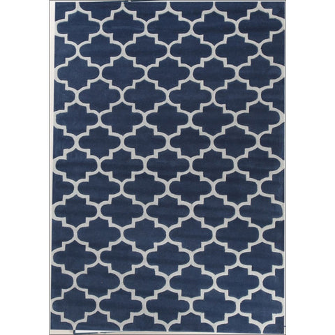 Lattice Navy Blue Modern Trellis Rug - Rugs Of Beauty - 1