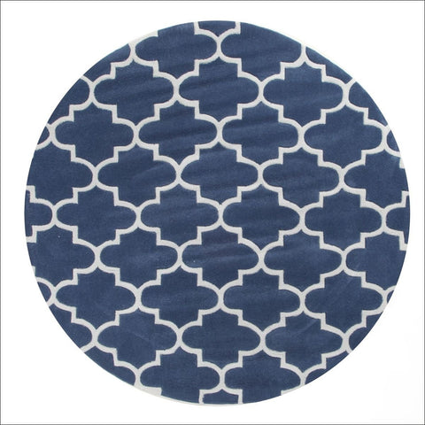 Seville Lattice Navy Blue Round Modern Trellis Rug - Rugs Of Beauty