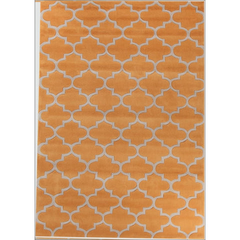 Lattice Orange Modern Trellis Rug - Rugs Of Beauty