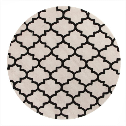 Lattice Off White And Black Round Trellis Rug - Rugs Of Beauty