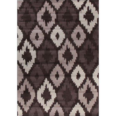 Ikat Diamonds Brown Beige Rug - Rugs Of Beauty