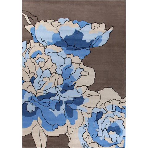 Blossoms Taupe Blue Rug - Rugs Of Beauty - 1