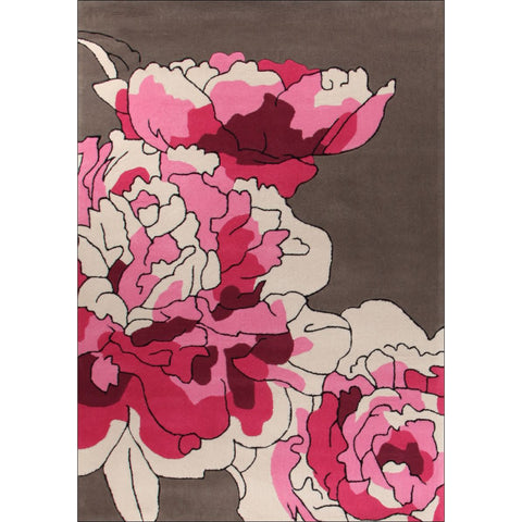 Blossoms Taupe Pink Rug - Rugs Of Beauty