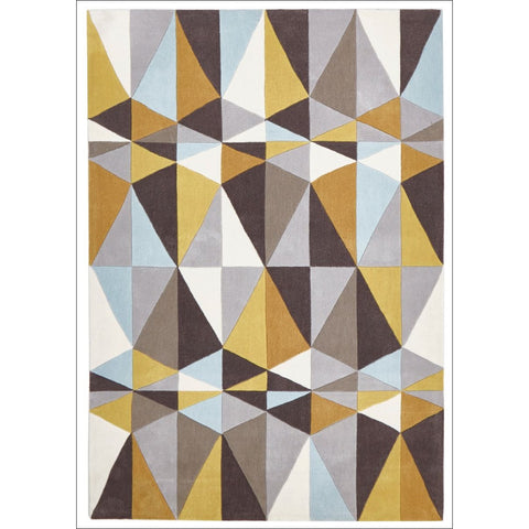 Yellow and Sky Blue Crystal Design Rug - Rugs Of Beauty