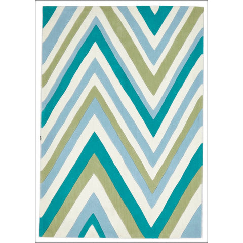 Multi Chevron Rug Light Blue Green - Rugs Of Beauty