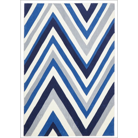 Multi Chevron Rug Navy Blue White - Rugs Of Beauty