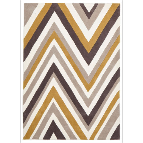 Multi Chevron Rug Yellow Brown - Rugs Of Beauty