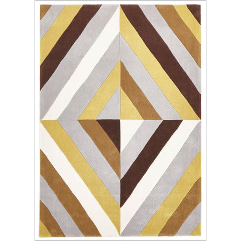 Yellow Brown Grey Crystal Prism Rug - Rugs Of Beauty