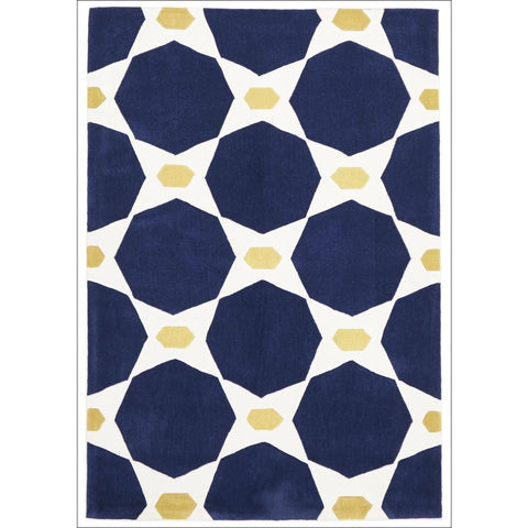 Navy and Yellow Hive Rug - Rugs Of Beauty