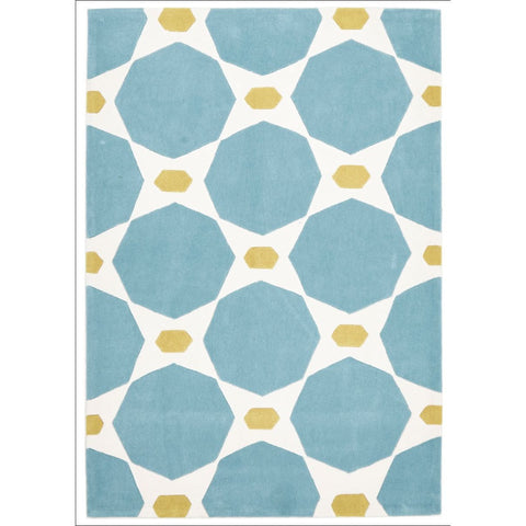 Blue and Yellow Hive Rug - Rugs Of Beauty - 1