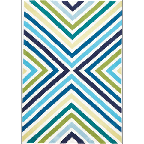 Cross Roads Design Rug Blue Green - Rugs Of Beauty