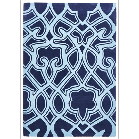 Gothic Tribal Design Rug Navy - Rugs Of Beauty