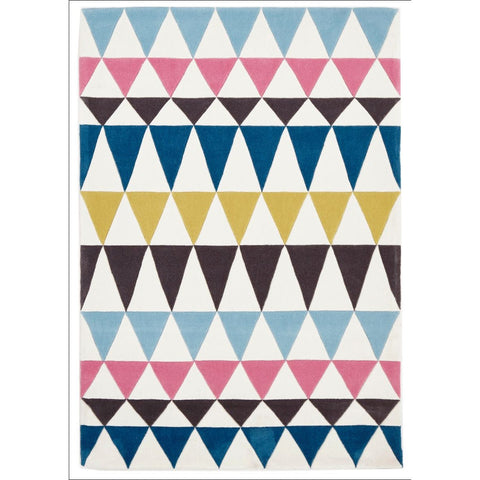 Modern Bunting Design Rug Multi Blue - Rugs Of Beauty