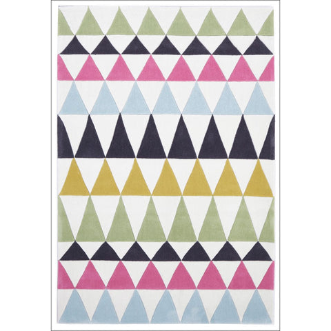 Modern Bunting Design Rug Multi Green - Rugs Of Beauty