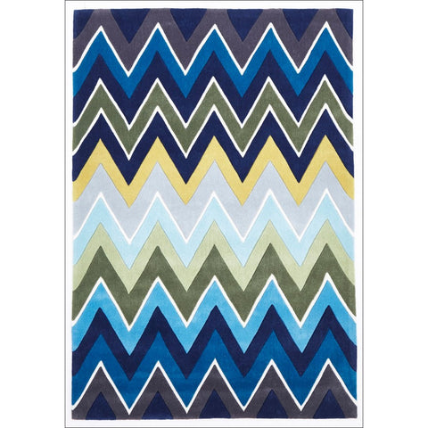 Eclectic Chevron Rug Navy Blue - Rugs Of Beauty - 1