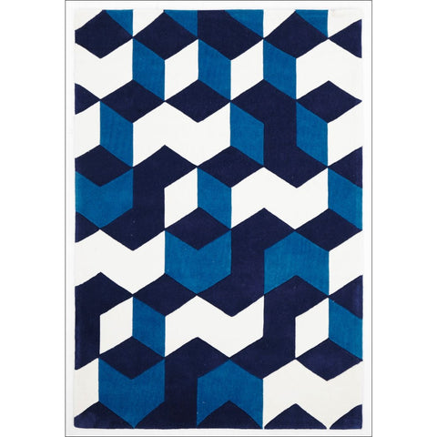 Cube Design Rug Navy Blue White - Rugs Of Beauty