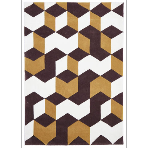Cube Design Rug Yellow Brown White - Rugs Of Beauty