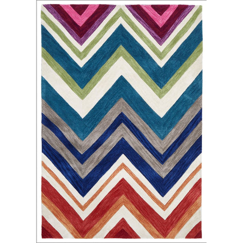 Abrash Chevron Rug Multi Coloured - Rugs Of Beauty - 1