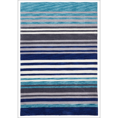 Modern Abrash Stripes Rug Blue Grey - Rugs Of Beauty