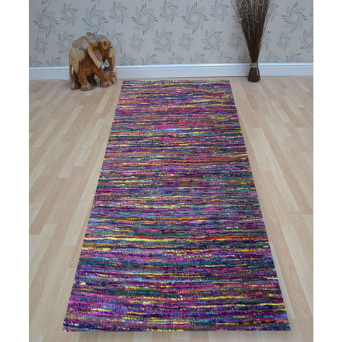 Purple & Multi Stripe Designer Rug - Rugs Of Beauty - 1
