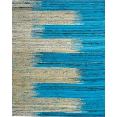 Handwoven Flatweave Sari Silk Rug - Chocho 1079 - Ivory/Blue - Rugs Of Beauty