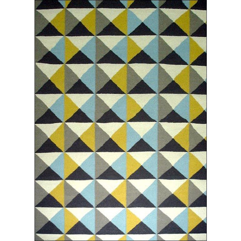 Handwoven Woollen Durrie Rug - Sweden 1005- Yellow/Blue - Rugs Of Beauty