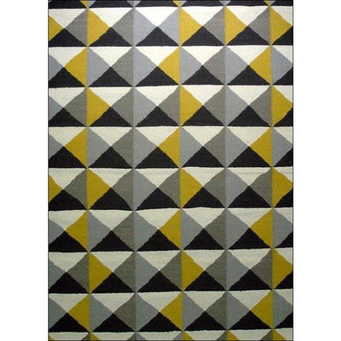 Handwoven Woollen Durrie Rug - Sweden 1005 - Yellow/Grey - Rugs Of Beauty