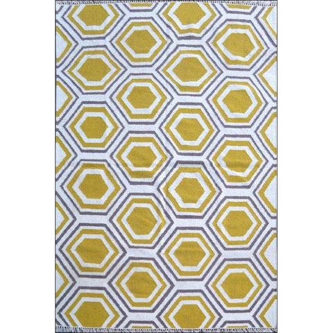 Handwoven Woollen Durrie Rug - Sweden 1036 - Yellow - Rugs Of Beauty