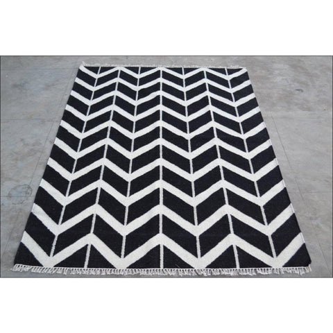 Handwoven Woollen Durrie Modern Kilim Rug - Sweden 1054 - Black - Rugs Of Beauty