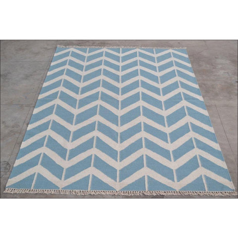 Handwoven Woollen Durrie Modern Kilim Rug - Sweden 1054 - Blue - Rugs Of Beauty