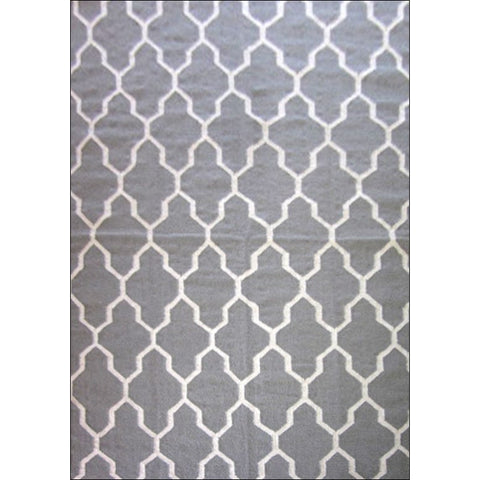 Handwoven Woollen Durrie Trellis Rug - Sweden 459 - Grey - Rugs Of Beauty - 1