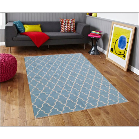 Handwoven Woollen Durrie Rug - Sweden 459 - Blue - Rugs Of Beauty