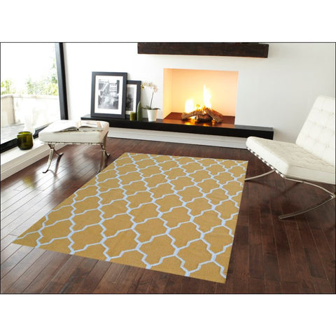 Handwoven Woollen Durrie Rug - Sweden 459 - Yellow - Rugs Of Beauty